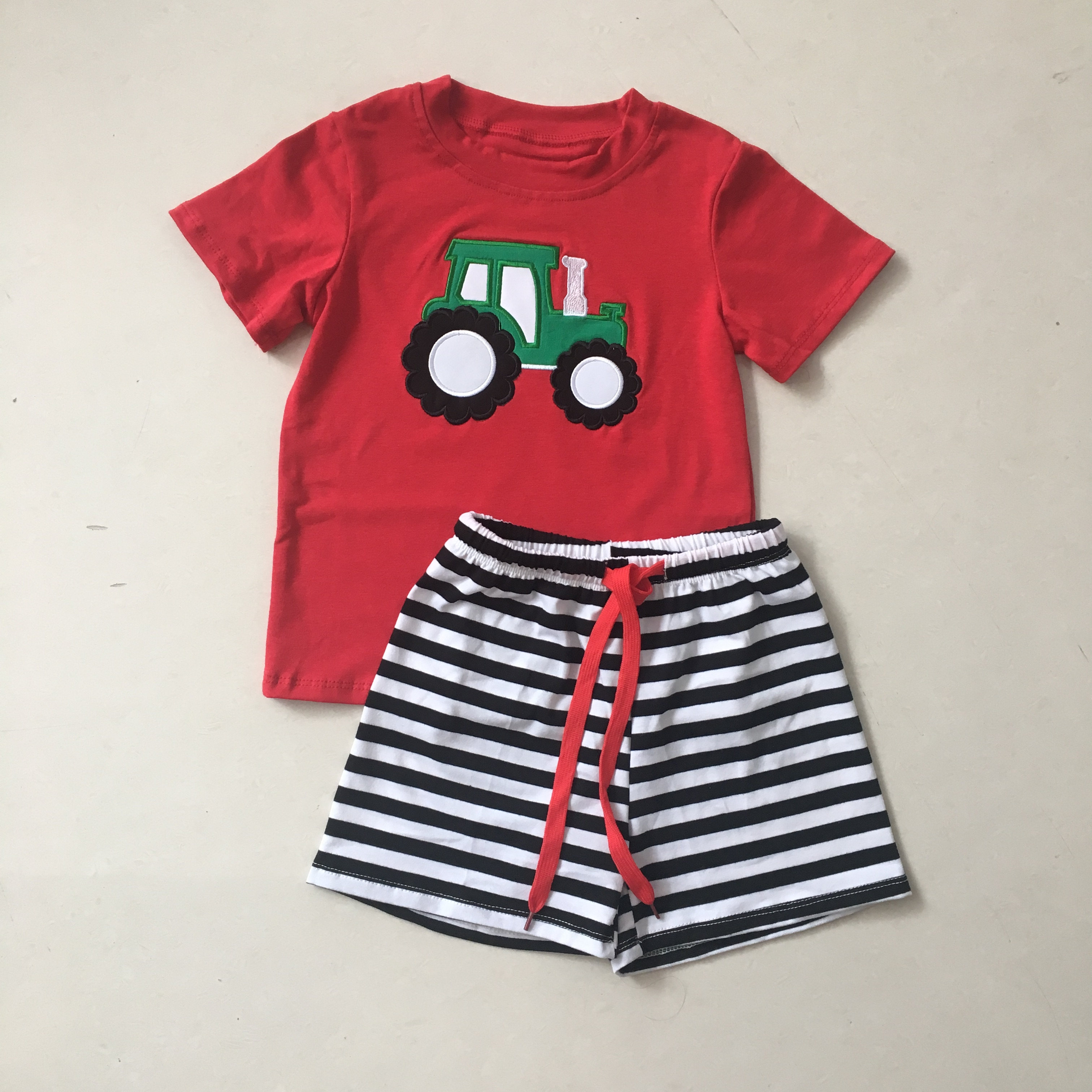 Puresun New Design Toddler Popular Boy Lovely Summer Clothing Sets Embroidery Tractor Pattern Clothing Set Boutique Kids Outfits