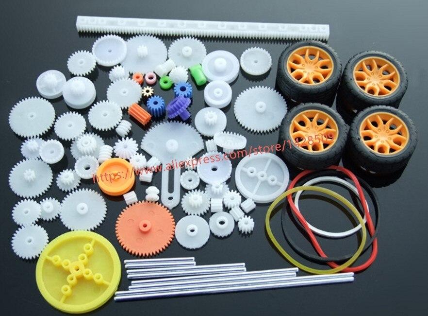 78 Pcs/lot Different Type Mini Gear Concave Wheel  Car Axle Plastic Gear Mini Belt Wheel Sets For Model Car