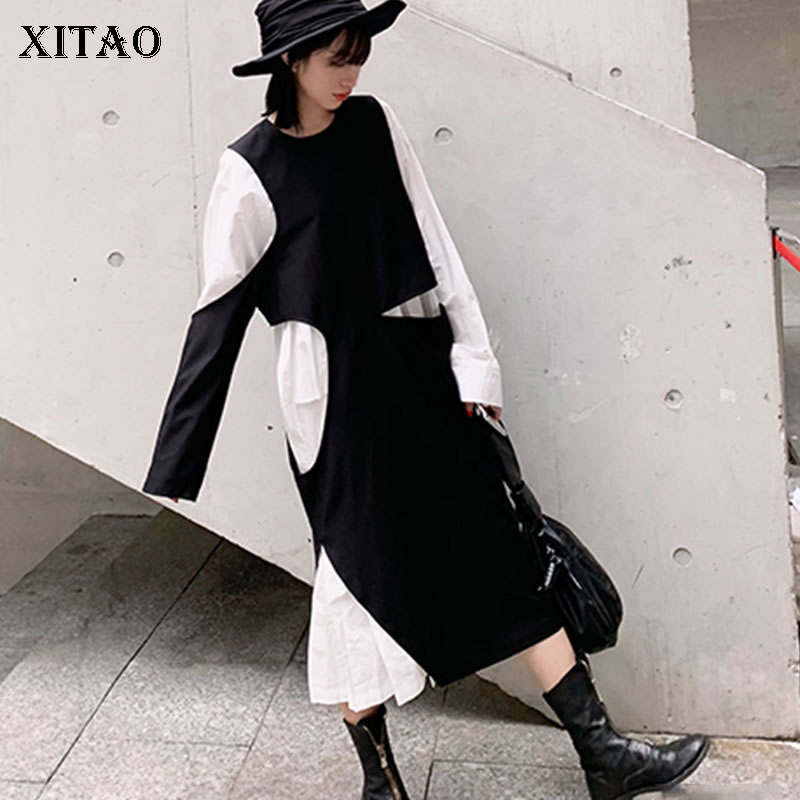 XITAO Fashion Women 2019 Spring New O neck Full Sleeve Casual Dress Female Patchwork Ruffles