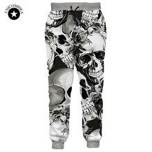 Mens Pants Clothing Skull-Print Hip-Hop-Style Casual Streetwear Brand Trousers Harem