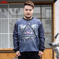 Extra large men's tide brand long sleeve round neck T shirt plus size loose fashion casual T shirt 8X 9XL 10XL