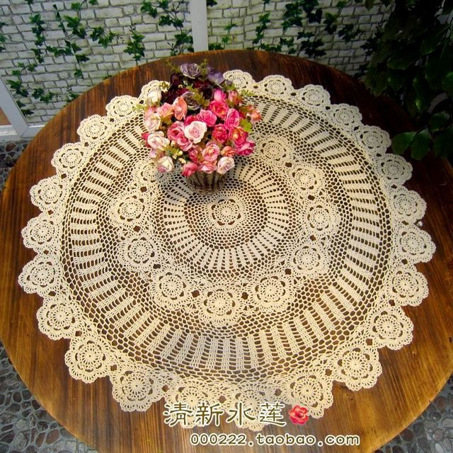 Beautiful Bright Crochet Round Table Runner American 100% Cotton Knitted  Table Cloth 105 110cm