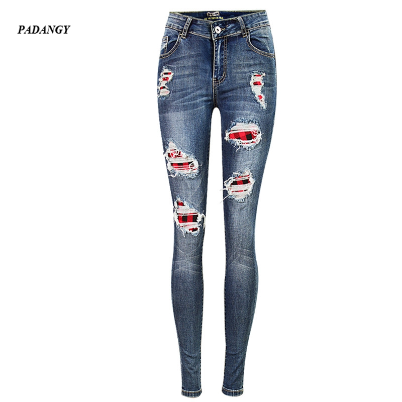PADAUNGY 2017 Vintage Ripped Hole Jeans Mid Waist Irregular Plaid Patchwork Skinny Pants Casual Straight Trousers Elastic Sexy