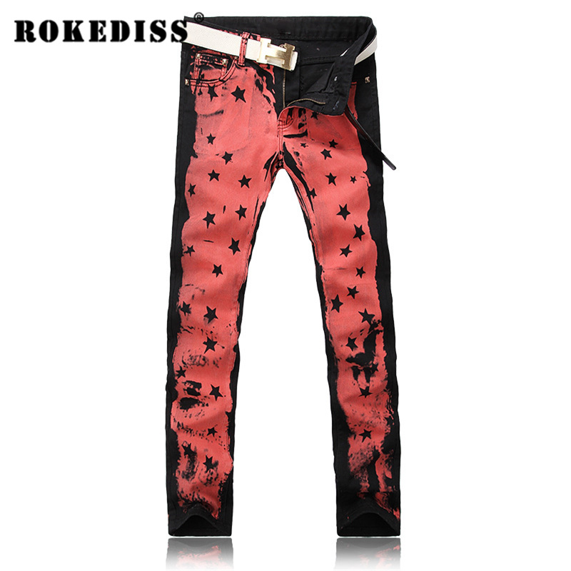 ФОТО Men's fashion red pink colored drawing print jeans Male painted stars personality slim denim pants straight leg jeans long G214