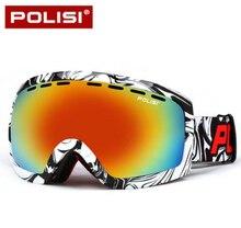 POLISI Double Couche Grand Lentille Sphérique Ski Lunettes Polarisées Anti-Brouillard Ski Lunettes En Plein Air Anti-Brouillard Snowboard Neige lunettes