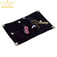 شحن مجاني البسيطة الأسود المخملية مجوهرات لفة حقيبة منظم حقيبة محمولة قابلة للشحن أقراط الطوق قلادة التخزين
