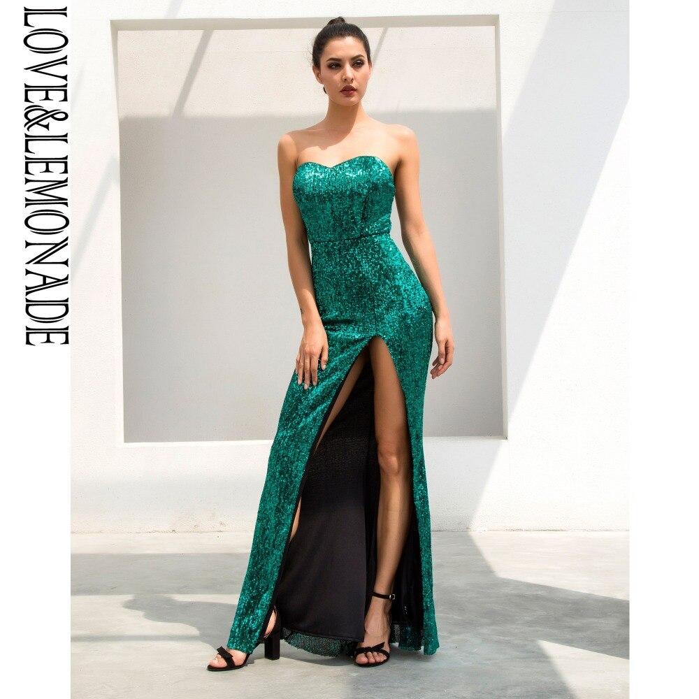 Vestido largo con lentejuelas elásticas con forma de cola de pez en forma de tubo verde Love & Lemonade LM1056-in Vestidos from Ropa de mujer    2