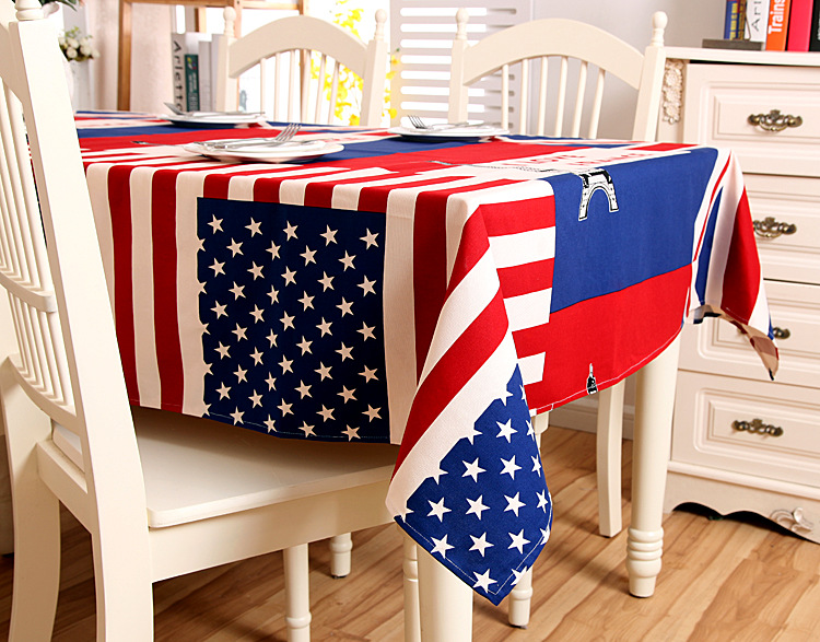 American Uk Flag Eiffel Tower Tablecloth 100 Cotton Thick Table Cloth Kitchen Towel Casual Party Home Decor Table Covers in Tablecloths from Home Garden