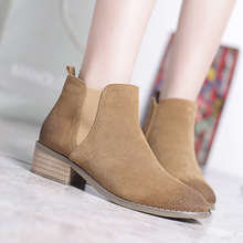 Women's Ankle Boots Genuine Leather Low Heel Comfort Slip-on Spring Autumn Short Booties Shoes Women Brand Designer Female Shoes