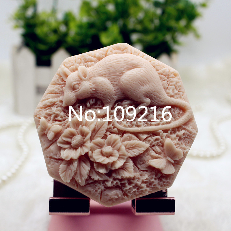 New Product!!1pcs The Chinese Zodiac Rat (zx341) Food Grade Silicone Handmade Soap Mold Crafts DIY Mould