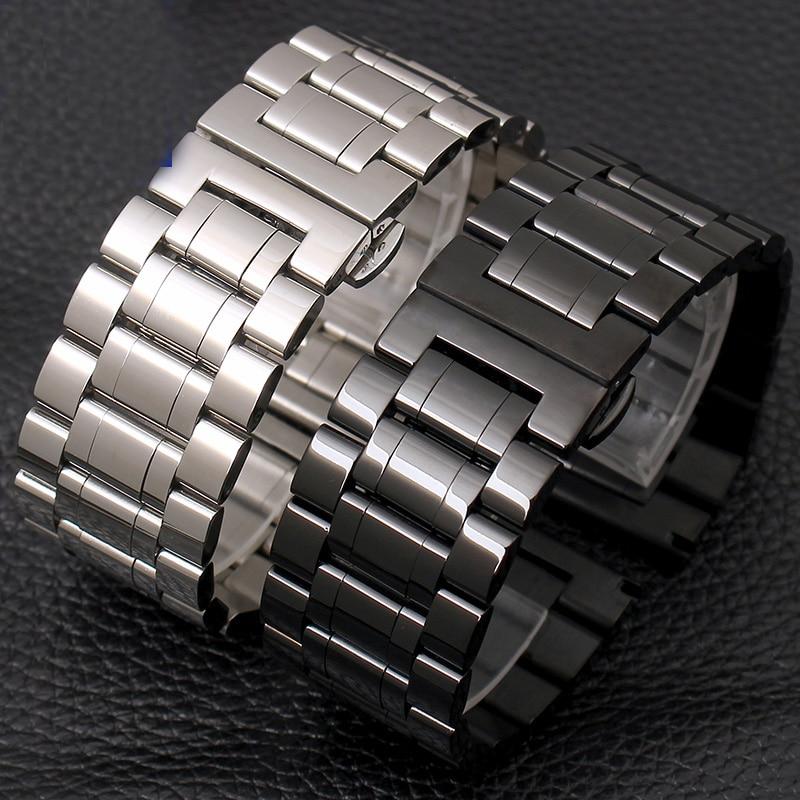 Shengmeirui 28MM Solid Stainless Steel Strap FOR SevenFriday Butterfly Buckle Men's Fashion Bracelet Silver Black Steel Strip