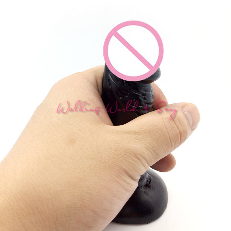 12x3.0CM Realistic Mini Dildo Women Black Silicone Penis Strong Suction Cup Female Masturbation Vaginal Anal Sex Toys