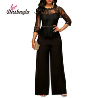 Dasbayla Women Sexy Wide Leg Jumpsuits 2018 Spring Lace Top Loose Rompers Fashion Female Vestidos Solid