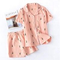 2019 Summer shorts pajamas women summer cotton home wear short sleeve 2PCS night suit for ladies sleepwear female
