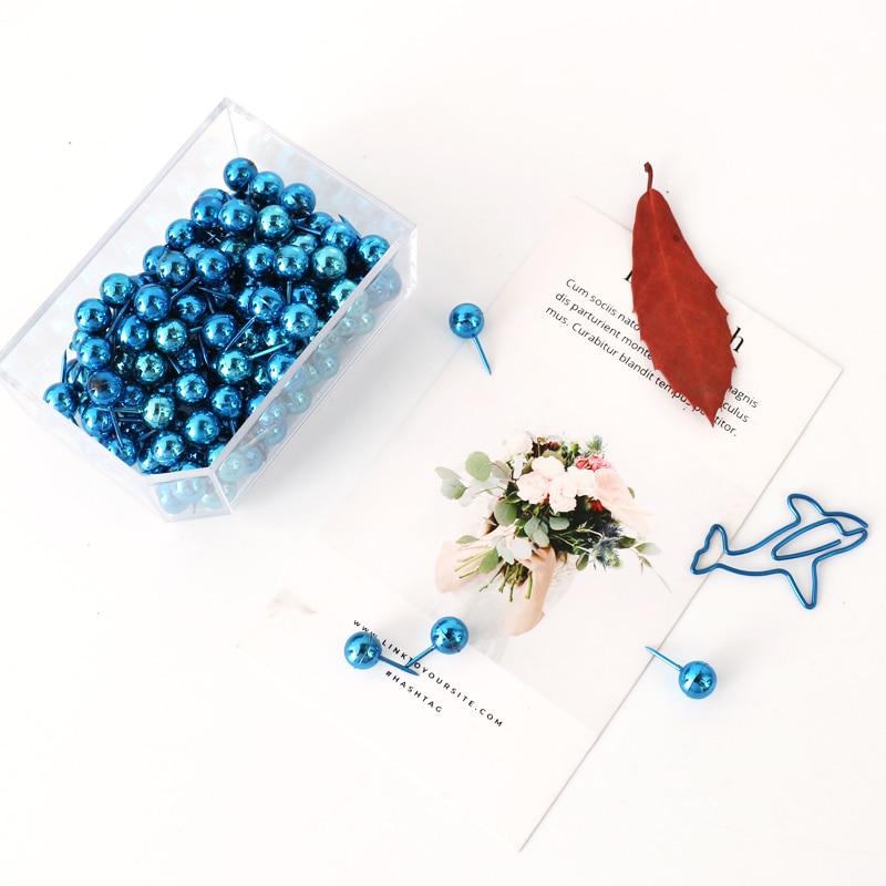TUTU 100 Pcs/box Blue Electrophoretic-coated Plastic Quality Colored Push Pins Thumbtacks Office School H0315