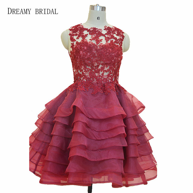 Dreamy Bridal Short Mini Organza Cocktail Dresses Lace Tiereds Skirts Puffy  Red Gowns Real Photos 788b14e82f23