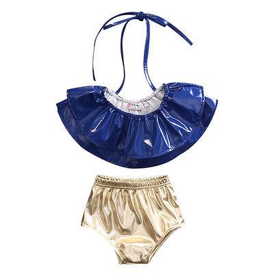 Baby Kids Girls Rufflles Swimwear 2 pc Halter Bikini Tankini Swimsuit Swimming Costume ...