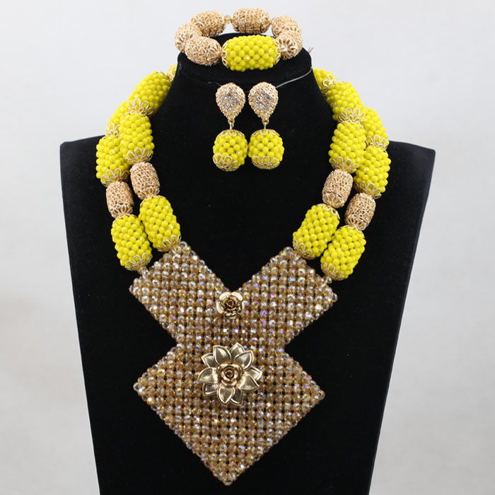 Latest African Wedding Nigerian Beads Jewelry Sets Yellow Bride Crystal Statement Necklace Set Women Gift Free Shipping WE008