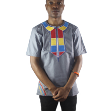 Africa Ethnic Happiness Embroidery Men`s Dashiki Tops Short Sleeved Solid Henley Shirts for Male Wedding Wear