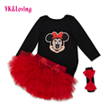 Cartoon Baby Clothing Sets Black Long Sleeve Rompers + Red Ruffle Skirts + Headband 3pcs Set Tutu Pettiskirt Next Girl Clothes