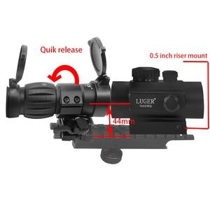 Combine 3x Magnifier Sight Riflescope 1X40 Red Dot Sight Scope Quick Release Flip Picatinny Rail Air Gun Hunting Rifle Scope