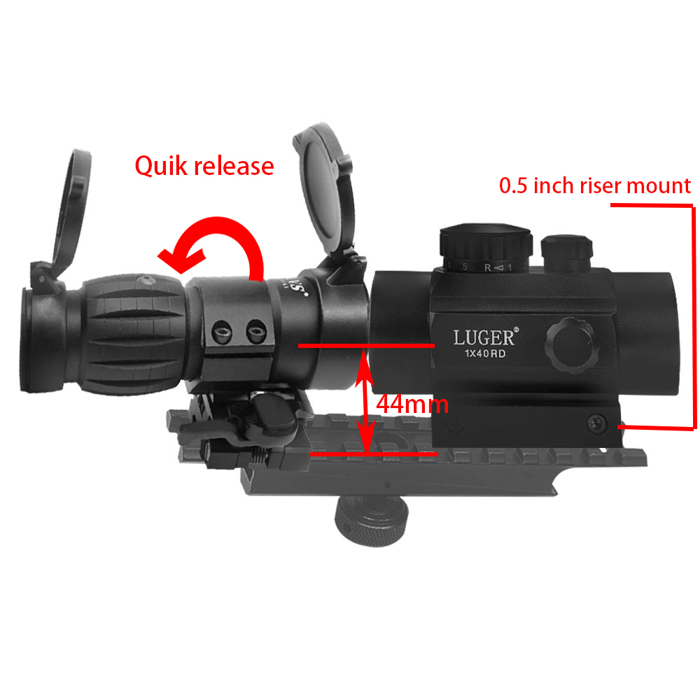 Combine 3x Magnifier Sight Riflescope 1X40 Red Dot Sight Scope Quick Release With Flip UP Mount Side Picatinny Weaver Rail Mount