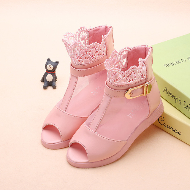 59d5b264607754 2018 Spring  Summer Boots Child Sandals Girls Kids Princess Shoes Single  Party Shoes Network Open Toe Leather Baby Shoe