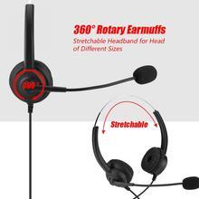 سماعة رأس لمركز الاتصال إلغاء الضوضاء سماعة مع كريستال USB 3.5/2.5 مللي متر التوصيل لخدمة العملاء/لعبة/صندوق سطح المكتب/الكمبيوتر