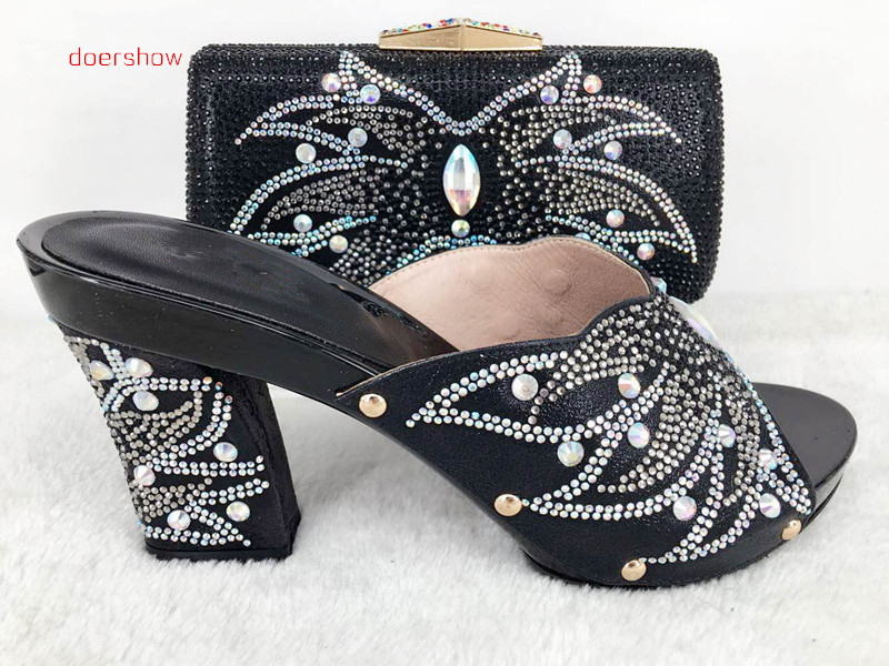 doershow African Ladies shoes and bags to match set High quality shoes and bag for Italian design Hlu1-40