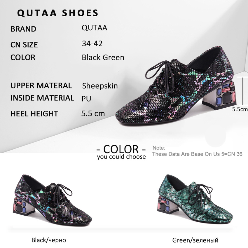 QUTAA 2020 Crystal Square High Heel All Match Square Toe Lace Up Green Black Single Shoes Spring Autumn Women Pumps Size 34 42 - 6