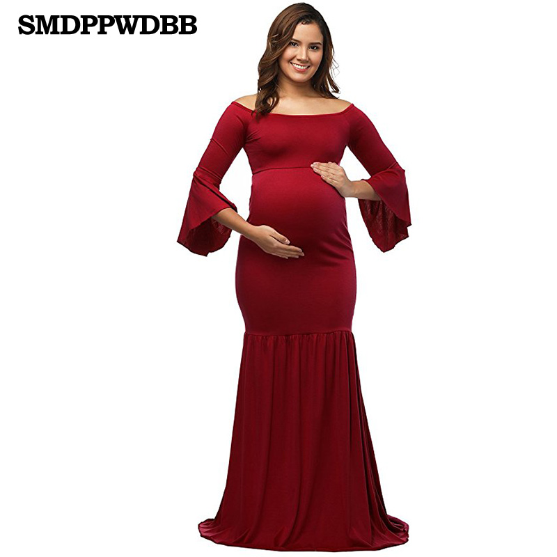 SMDPPWDBB Maternity Dresses Maternity Photography Props Plus Size Dress Elegant Fancy Pregnancy Photo Shoot Long Dress