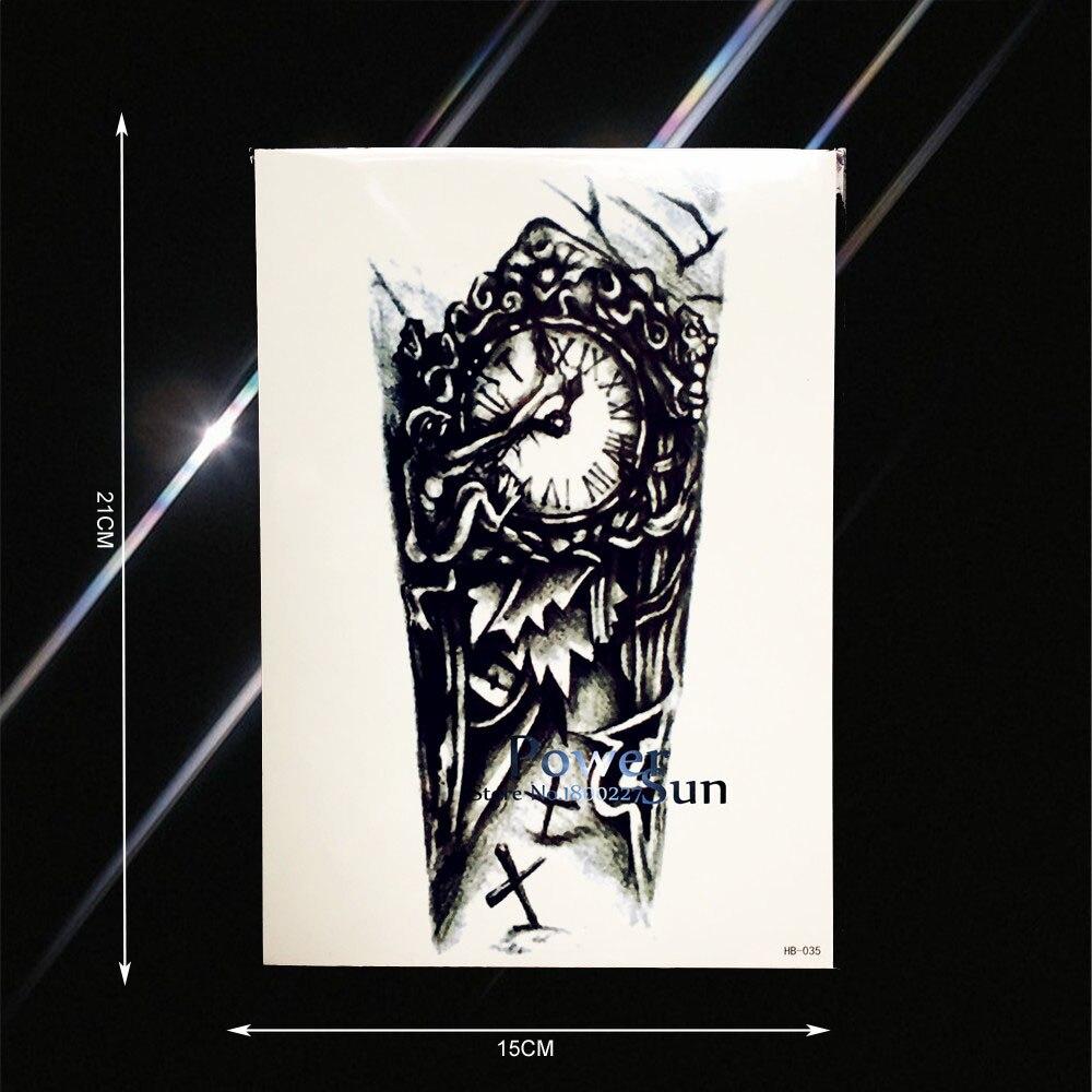 081 Tatuaje A Prueba De Agua Para Hombre Reloj Oscuro Diseño Diablo Pata De Brazo Falsa Tatuaje Para Hombre Tatuaje Temporal Pegatinas