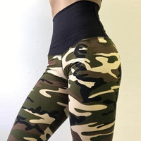 Womens High Waist Skinny Camouflage Leggings Women Sexy Hip Push Up Legging Spandex Lady Workout Fitness Gym Camo Leggins Mujer