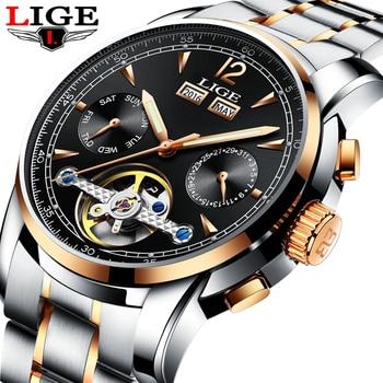 Top Luxury Brand LIGE Men tourbillon Mechanical sports Watch Men Fashion Automatic watch Man Waterproof clock Relogio Masculino