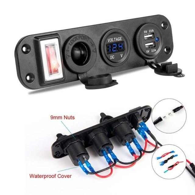 자동차 충전기 듀얼 USB 어댑터 12V 담배 라이터 소켓 LED 전압계 스위치 2019 새로운