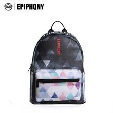 Epiphqny бренд с геометрическим принтом Школьные сумки черный кожаный рюкзак Для женщин Красочные Дизайн мода элегантный дизайн маленький