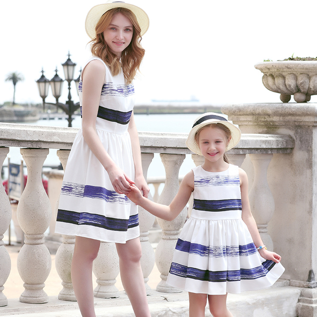 392160796e3b ... 2018 Striped Dress European and American Style Family Matching Outfits  Mother Or Daughter Dress Sleeveless Party ...