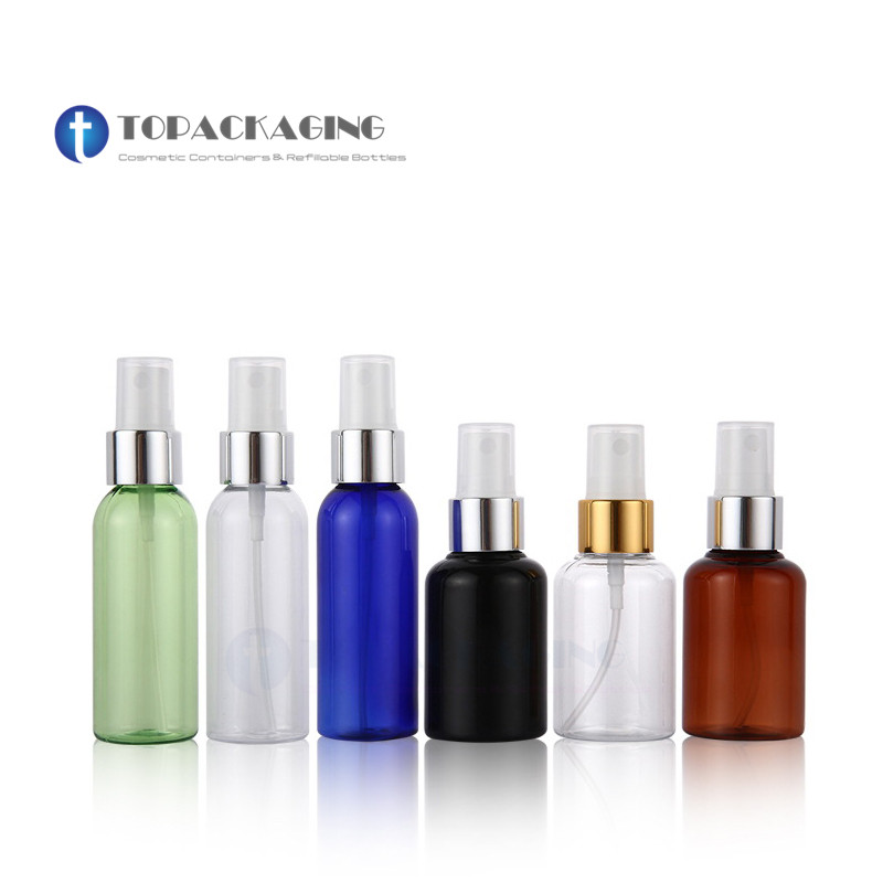 50pcs 50ML Spray Pump Bottle Empty Cosmetic Container Plastic Perfume Refillable Packing Mist Atomizer Anodized Aluminum
