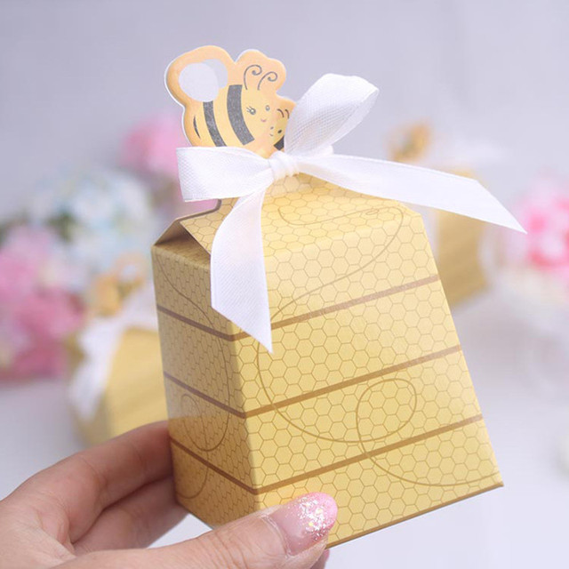 100pcs Cute Bee Baby Birthday Shower Favors Boxes Gifts Souvenirs For