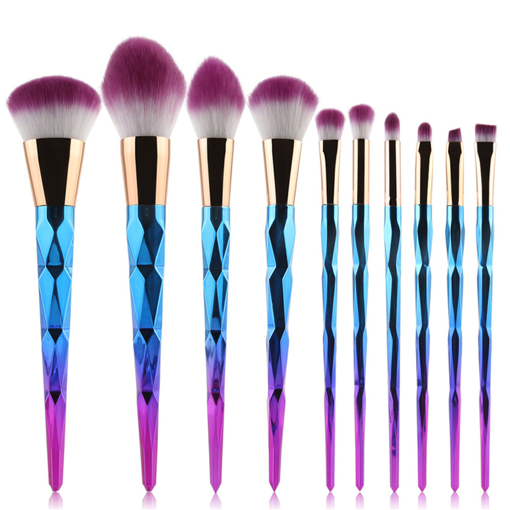 10pcs Rainbow Diamond Handle Makeup Brushes Set Power Foundation Blush Eyeshadow Blending Multifunction Brush Cosmetic tool Kits lades 7pcs makeup brushes set diamond rainbow handle cosmetic foundation blusher powder blending brush beauty tools kits mb030a