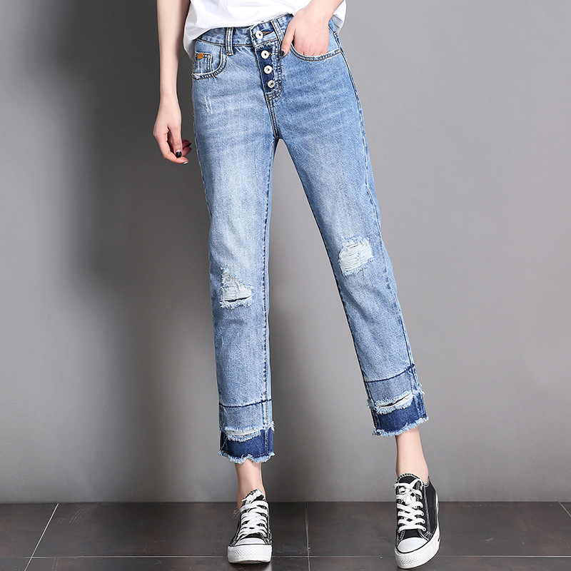 Womens straight jeans pants summer fashion vintage ripped single breasted fly opening loose casual denim jeans