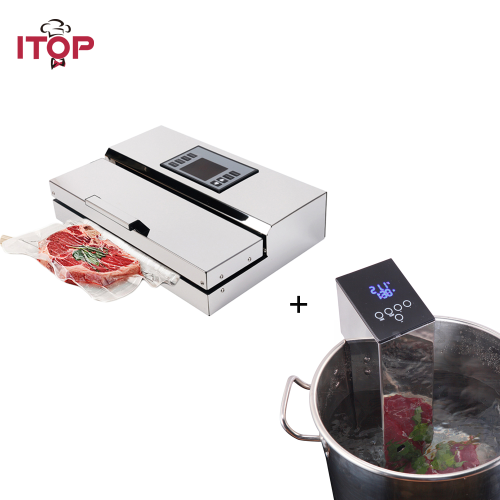 ITOP Vacuum Packing Sealer Machine Immersion Sous Vide 2pcs Set Food Sealer and Food Cooker Circulator
