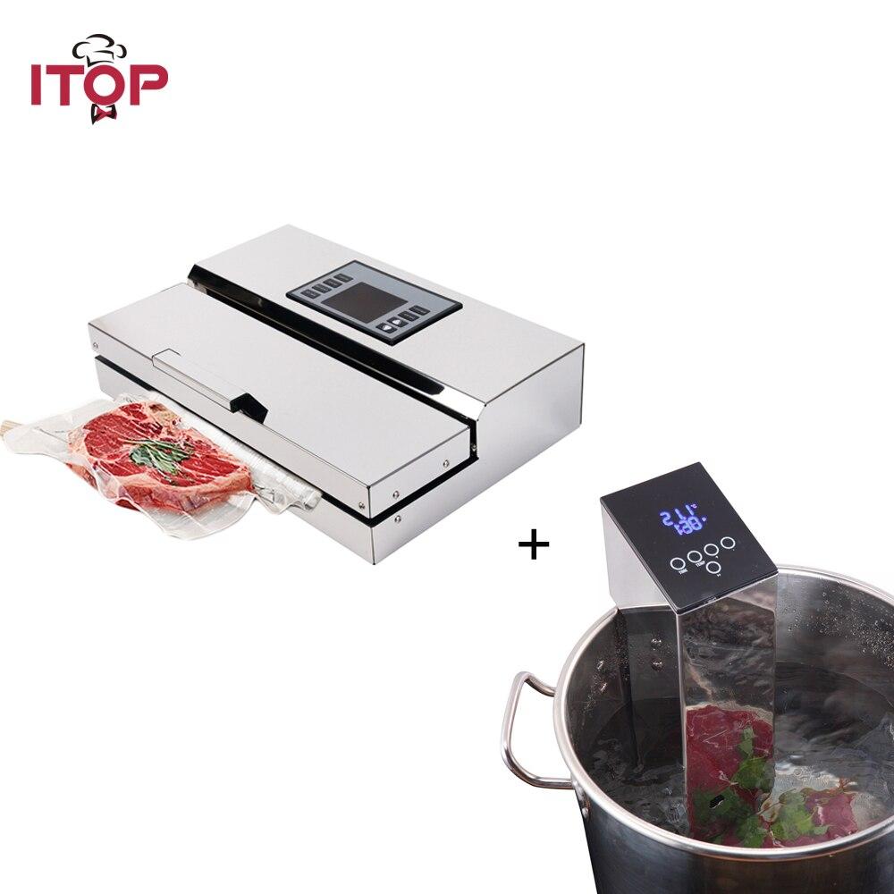 Máquina selladora de envasado al vacío ITOP + máquina de inmersión Sous Vide 2 unids/set selladora de alimentos y procesadores de cocina de alimentos