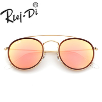 Fashion Women Round Metal Style Sunglasses Classic Vintage Brand Design Sun Glasses Retro Glass Lens Mirror Ladies Shades UV400