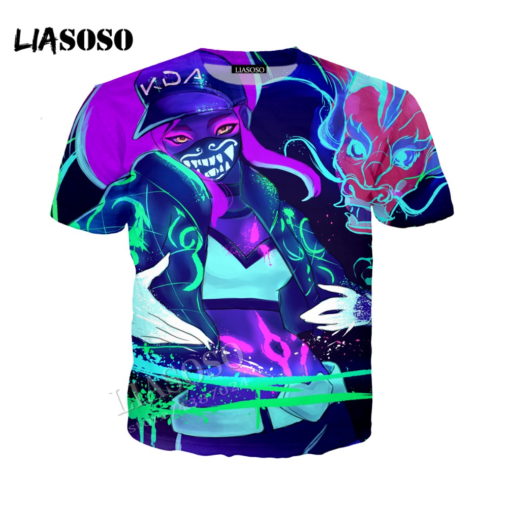 LIASOSO latest 3D printing comfort polyester KDA Harajuku hoodie zipper hooded grimace graffiti funny men women sportswear CX278