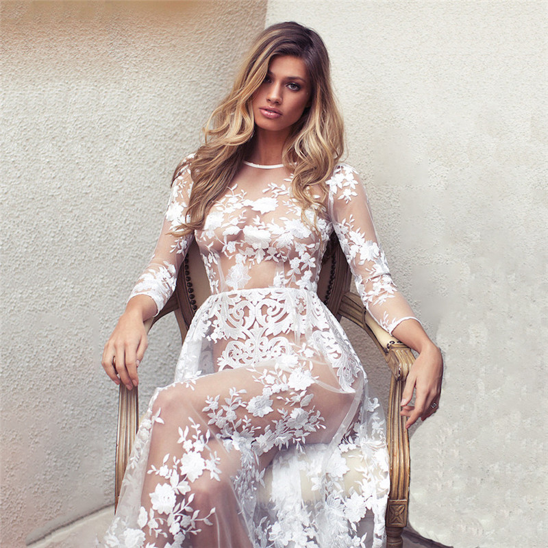 Women Floor Length White Lace Dress Long Sleeve Sexy See through Floral Crochet Perspective Evening Party