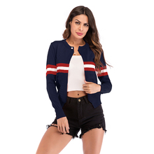 Women Beading Cardigan Stitching Color Striped Knitting Short Cardigan Round Collar Long Sleeve Casual Loose Open Stitch