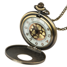 Roman digital mechanical quartz necklace pocket watch vintage bronze steampunk chain mens and womens clocks