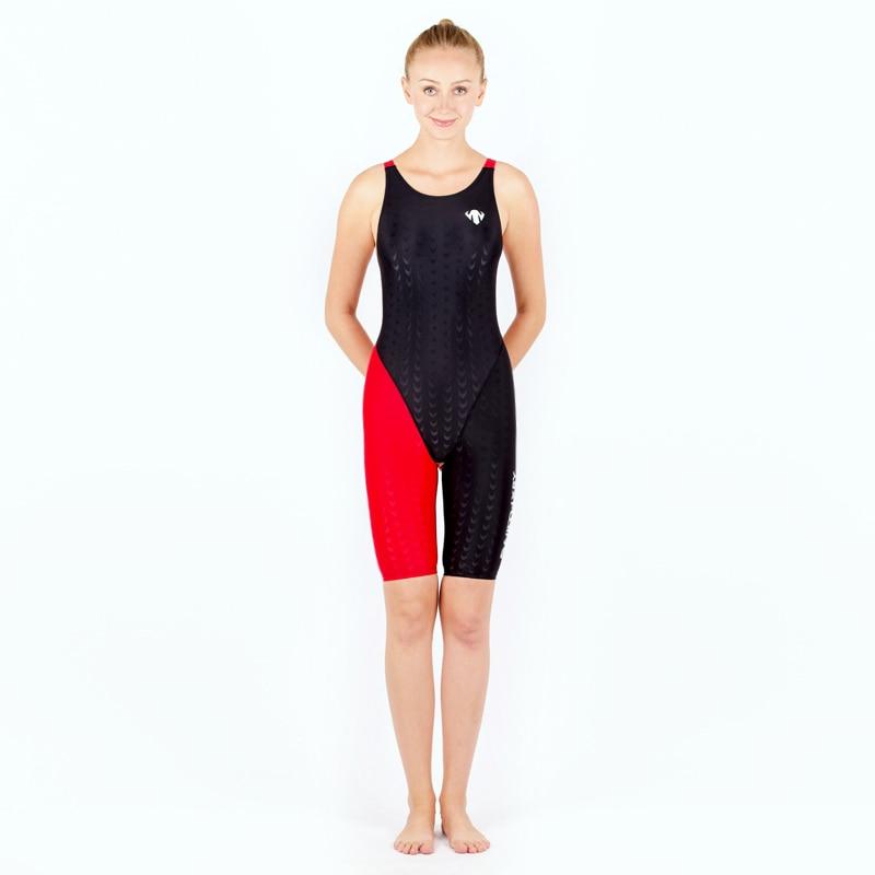 HXBY profi egyrészes női fürdőruha cápabőr térd fürdőruha verseny verseny fürdőruha Női edző fürdőruha