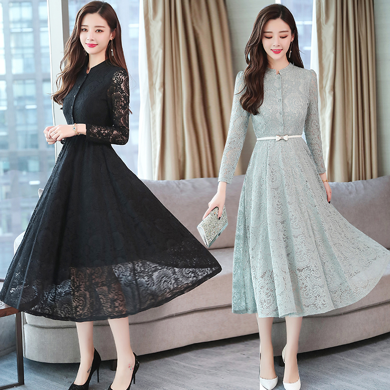 4f401f4aab65 ... 2018 Autumn Winter Plus Size Vintage Lace Midi Dresses Women Elegant  Bodycon Black Maxi Dress Party ...